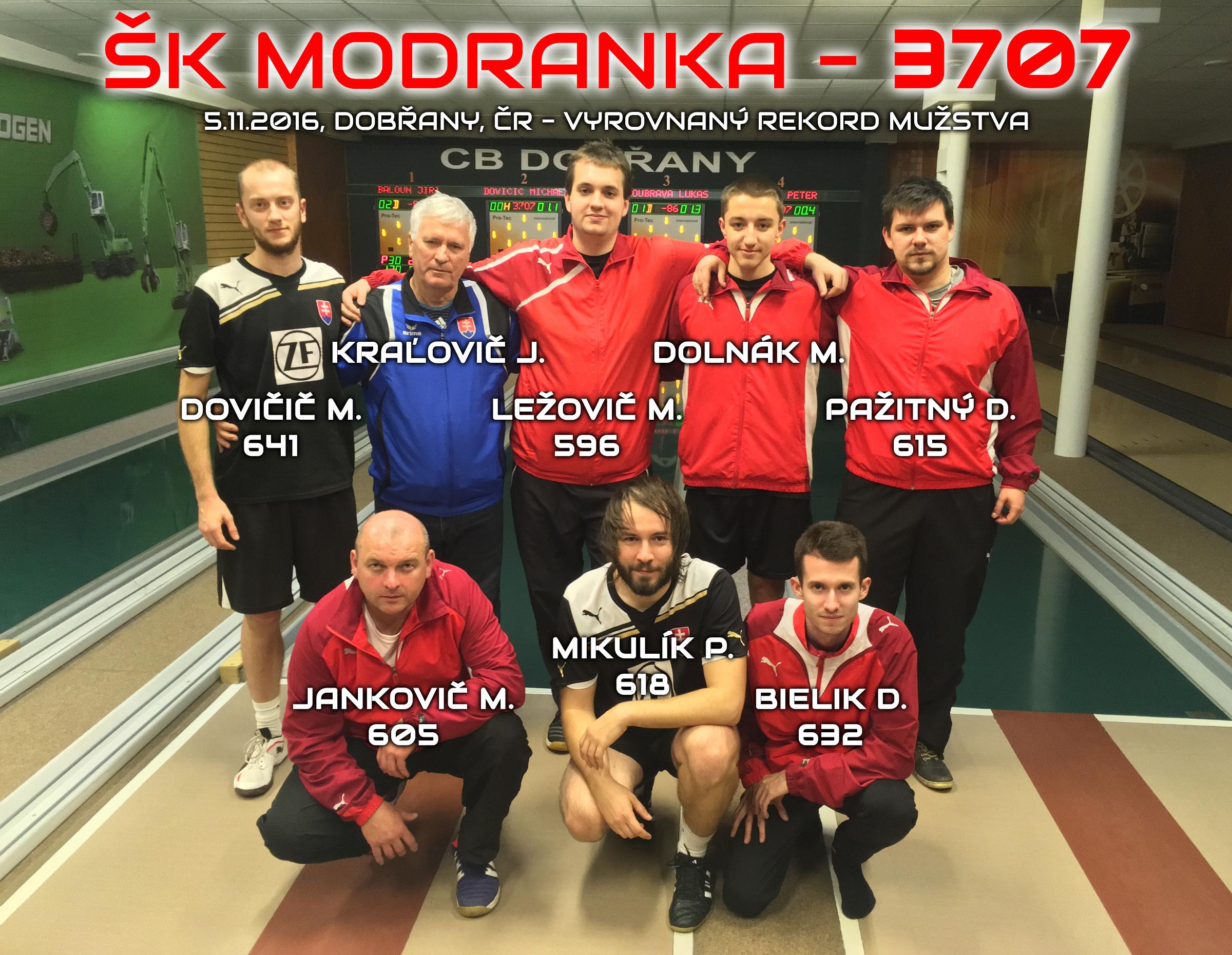 3707 šk modranka rekord mužstvo